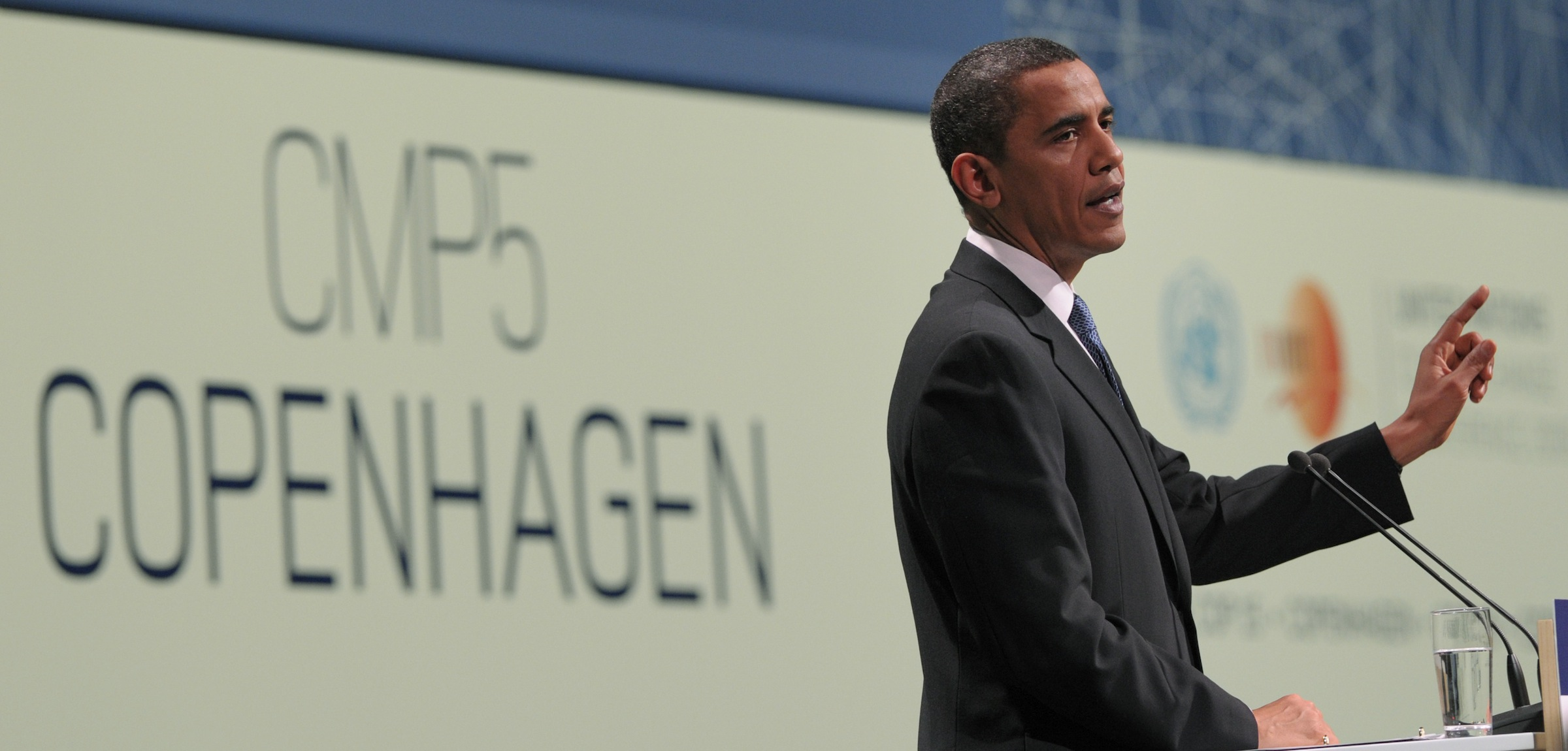 President Barack Obama speaks at the morning plenary session of the United Nations Climate Change Conference at the Bella Center in Copenhagen, Denmark, Friday, Dec. 18, 2009. (AP Photo/Susan Walsh)
