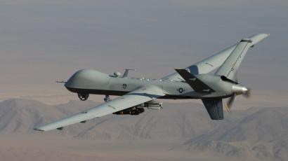 A MQ-9 Reaper, armed with GBU-12 Paveway II laser guided munitions and AGM-114 Hellfire missiles, piloted by Col. Lex Turner during a combat mission over southern Afghanistan.