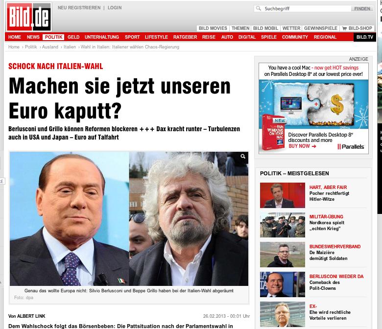 Bild italian election website