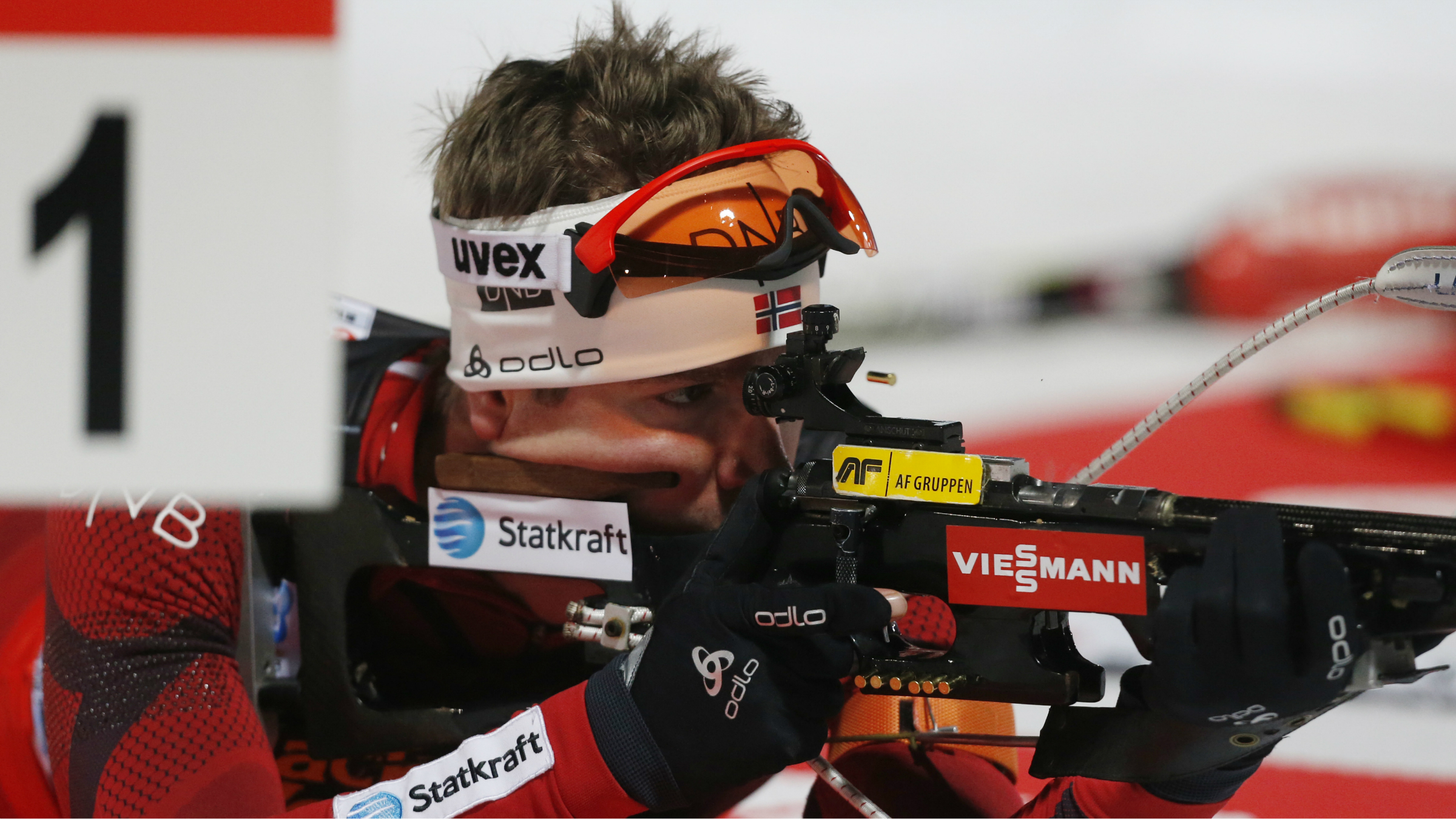 Emil Hegle Svendsen from Norway competes during the 2x6km + 2x7.5km mixed relay at the Biathlon World Championship in Nove Mesto
