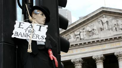 An effigy of a banker outside the Bank of England