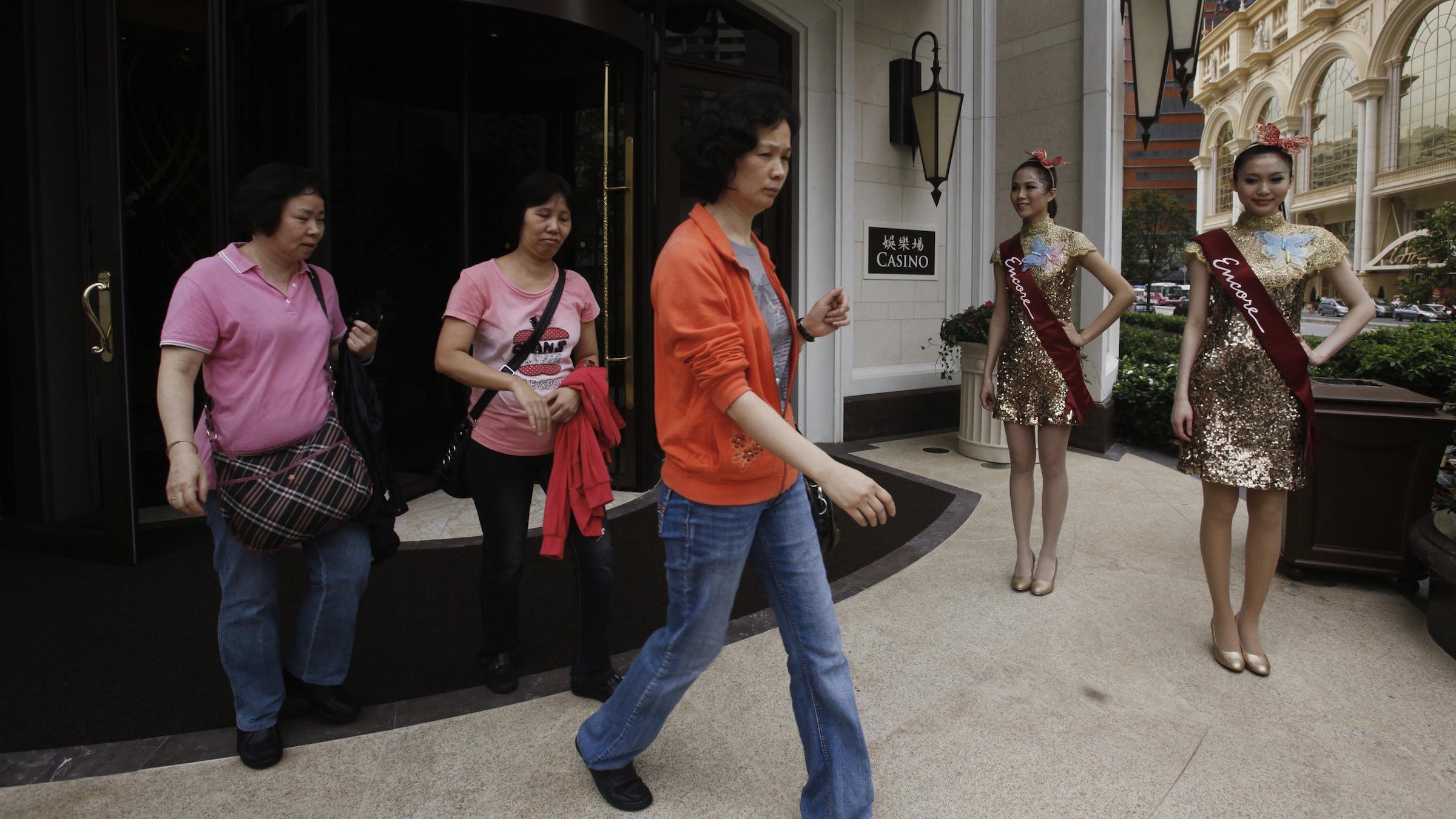 Customers leaving Wynn Macau