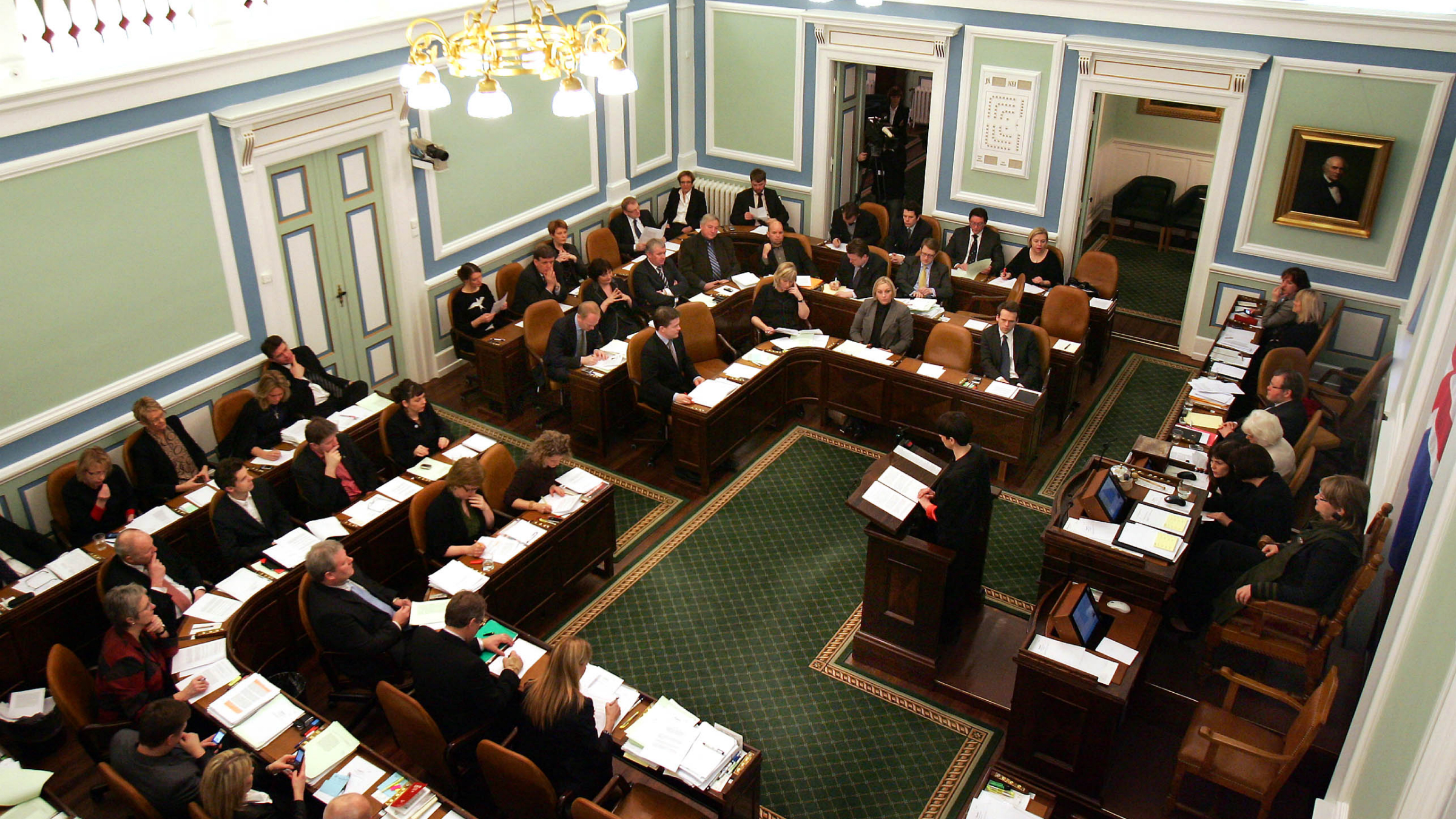 Iceland's parliament, debates a bill to hold a referendum over repayment of US$5.7 billion demanded by Britain and the Netherlands for depositors' money lost in failed Icelandic banks in Reykjavik Friday Jan. 8, 2010 . The government was forced into organizing the nationwide vote after Iceland's President Olafur R. Grimsson refused to sign legislation on the repayment into law. (AP Photo/Brynjar Gauti