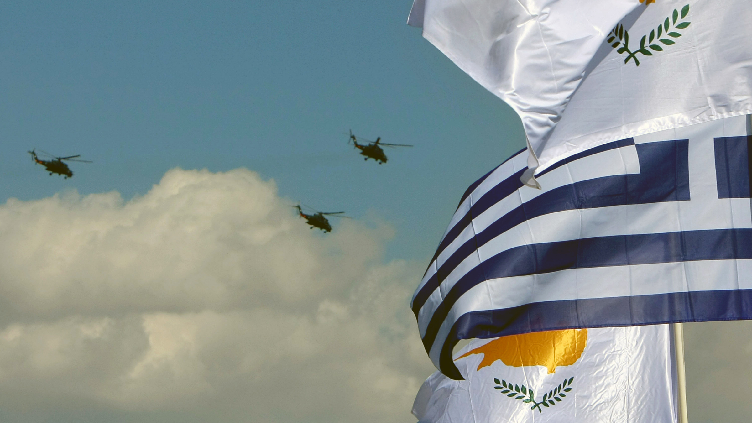 cyprus greece banks flags bailout helicopters