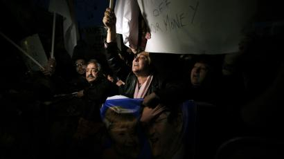 cyprus protester exit euro bank failure