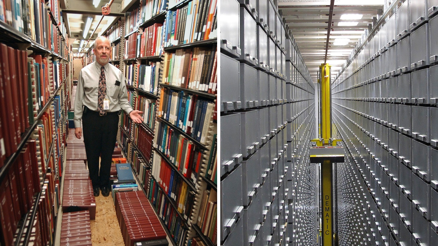 """This combination of Associated Press file photos shows Steven Herman, right, head of the Library of Congress storage facility, at the Library of Congress in 2003, in Washington,  and left, a """"bookBot"""", an automated retrieval system at the James B. Hunt Jr. Library at North Carolina State University in 2013, in Raleigh, N.C. Many middle-class workers have lost jobs because powerful software and computerized machines are doing tasks that only humans could do before. (AP Photo)"""