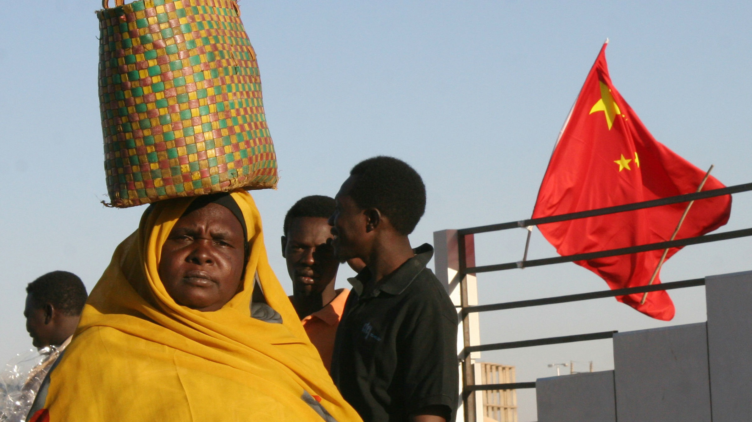 china flag african woman