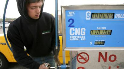 Filling up a car with compressed natural gas