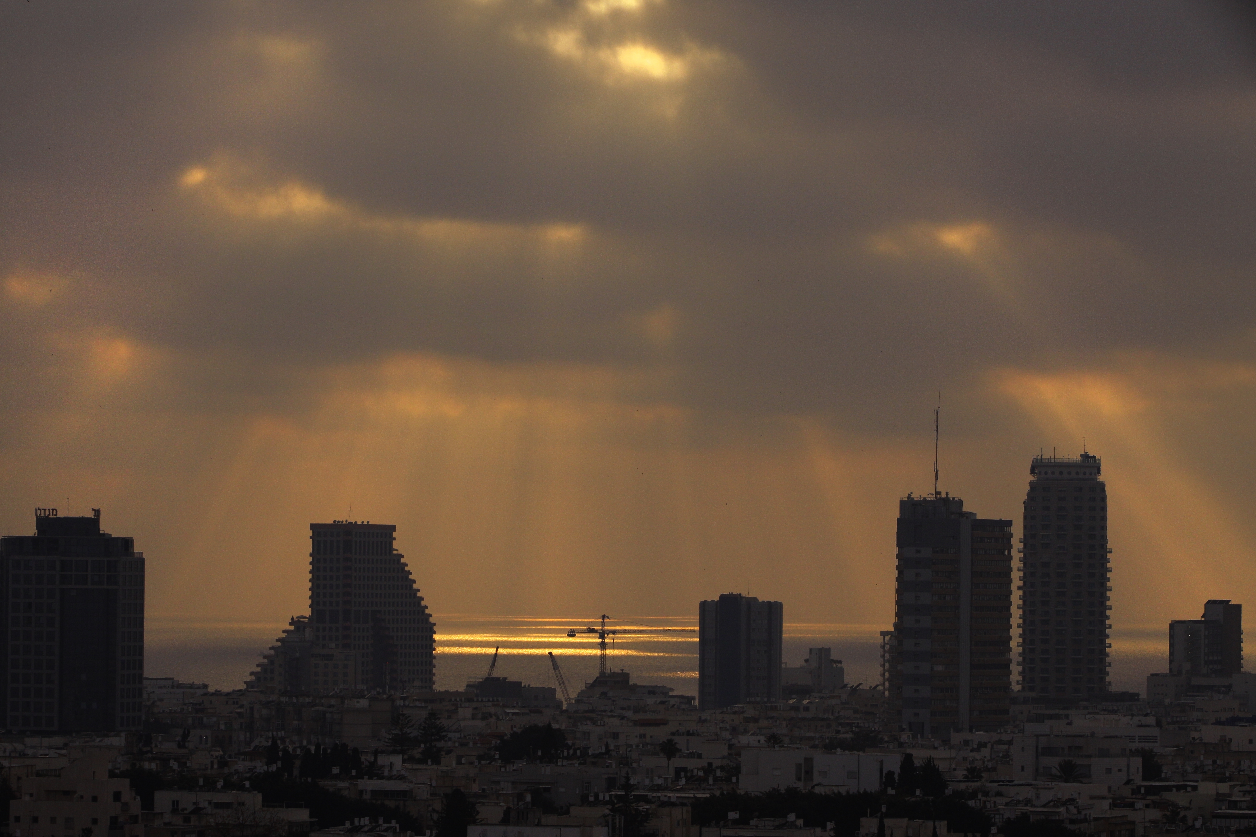 View of the Mediterranean Sea from the oncology ward of Tel Aviv Medical Center at sunset.