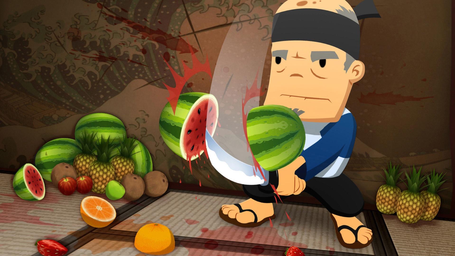 fruit ninja sensei slicing a watermelon