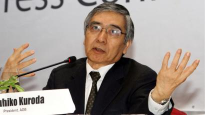 Haruhiko Kuroda, chairman of Asia Development Bank (ADB), talks to journalists during a press conference at Park Royal hotel in Yangon, Myanmar, Friday, Feb. 8, 2013. (AP Photo