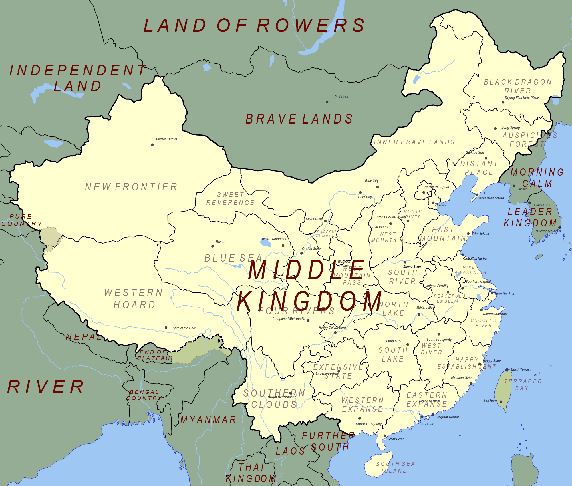"Map Of Russia And China In China's map of the world, Russia is the ""Land of Rowers"" and"