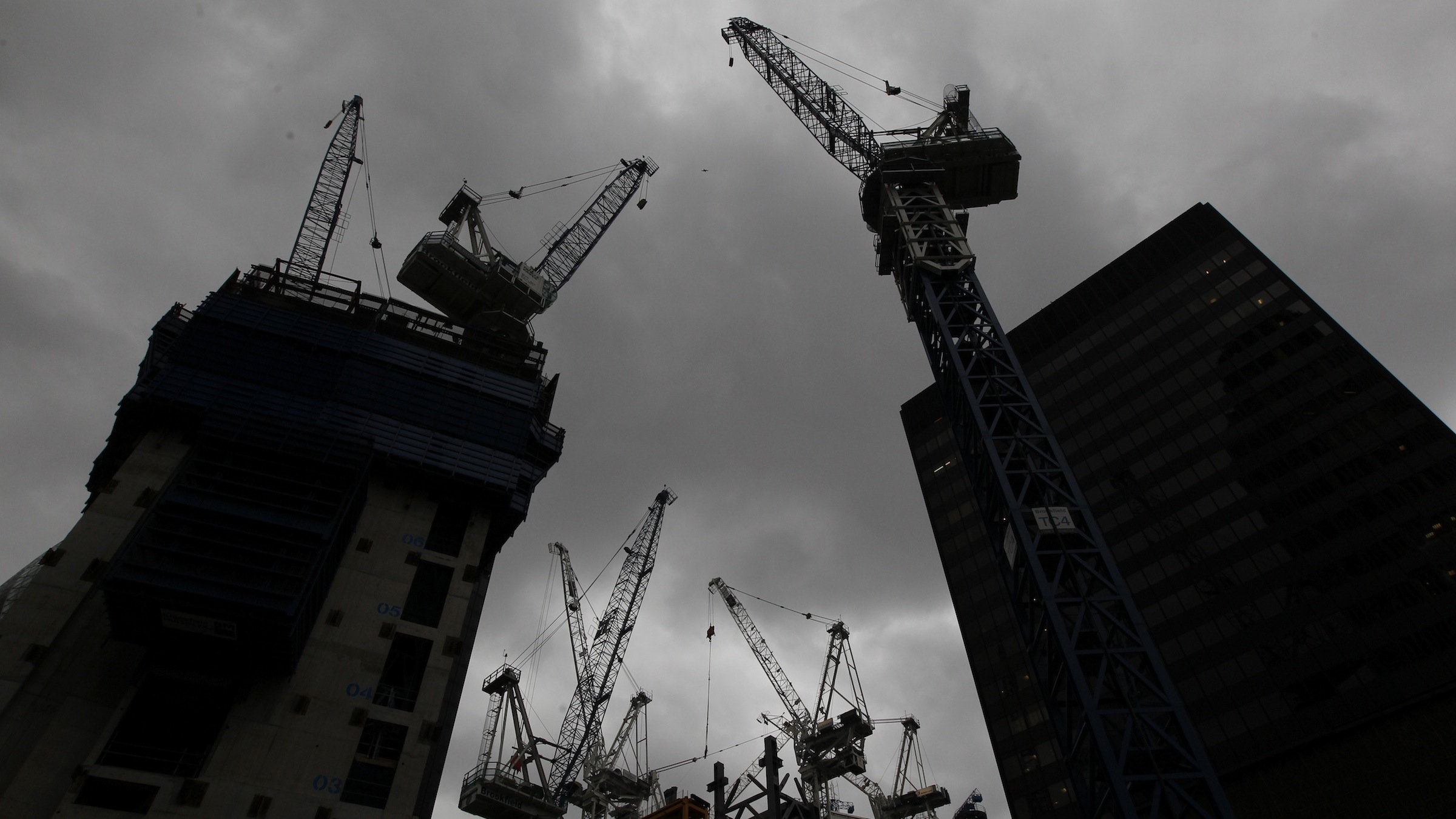 Construction in London's financial district