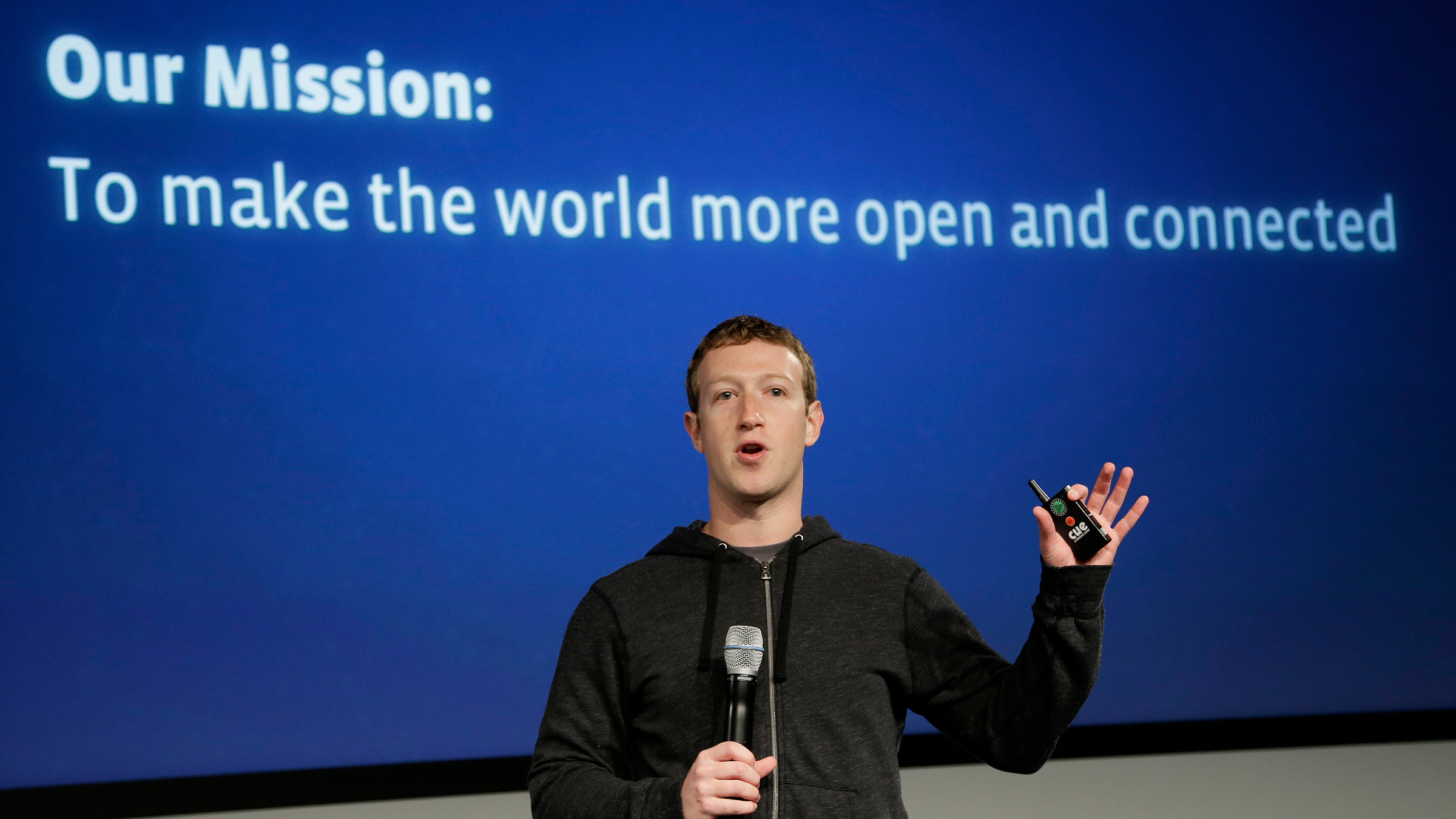 Facebook CEO Mark Zuckerberg speaks at Facebook headquarters in Menlo Park, Calif., Thursday, March 7, 2013. Zuckerberg on Thursday unveiled a new look for the social network's News Feed, the place where its 1 billion users congregate to see what's happening with their friends, family and favorite businesses