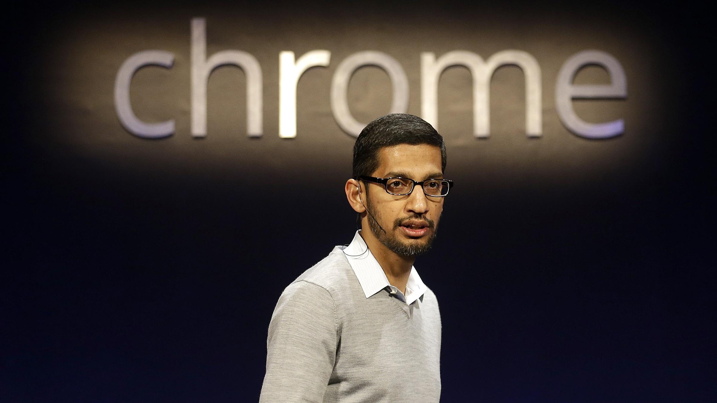 Sundar Pichai, Google's senior vice president of Chrome and apps, speaks at an announcement in San Francisco, Thursday, Feb. 21, 2013. (AP Photo/Jeff Chiu)