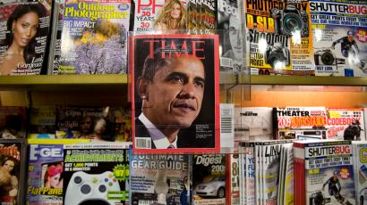 Time magazine on a newsstand