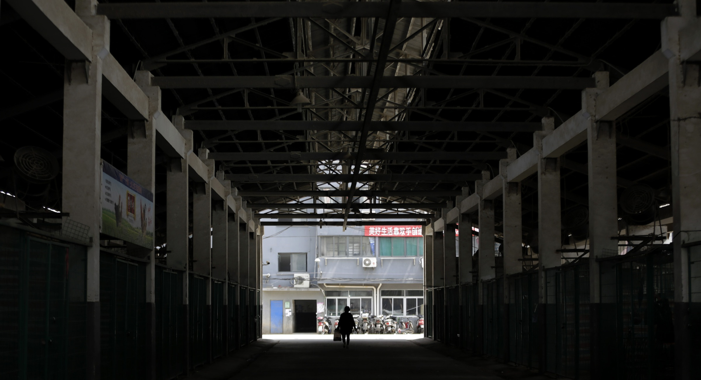 A worker walks though an empty live poultry wholesale market in Shanghai, China Wednesday, April 10, 2013. China says two more people have died of a new strain of bird flu, bringing the death toll to nine. Shanghai has suspended sales of live poultry. (AP Photo/Eugene Hoshiko)