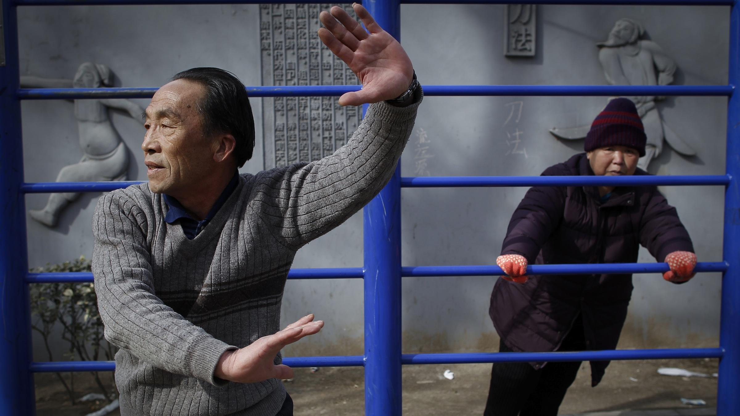 Elderly Chinese doing exercise