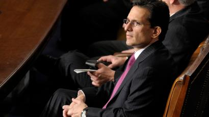 House Majority Leader Eric Cantor of Va., sits in the House Chamber on Capitol Hill in Washington, Thursday, Jan. 3, 2013, after being reelected as House Majority Leader for the 113th Congress.