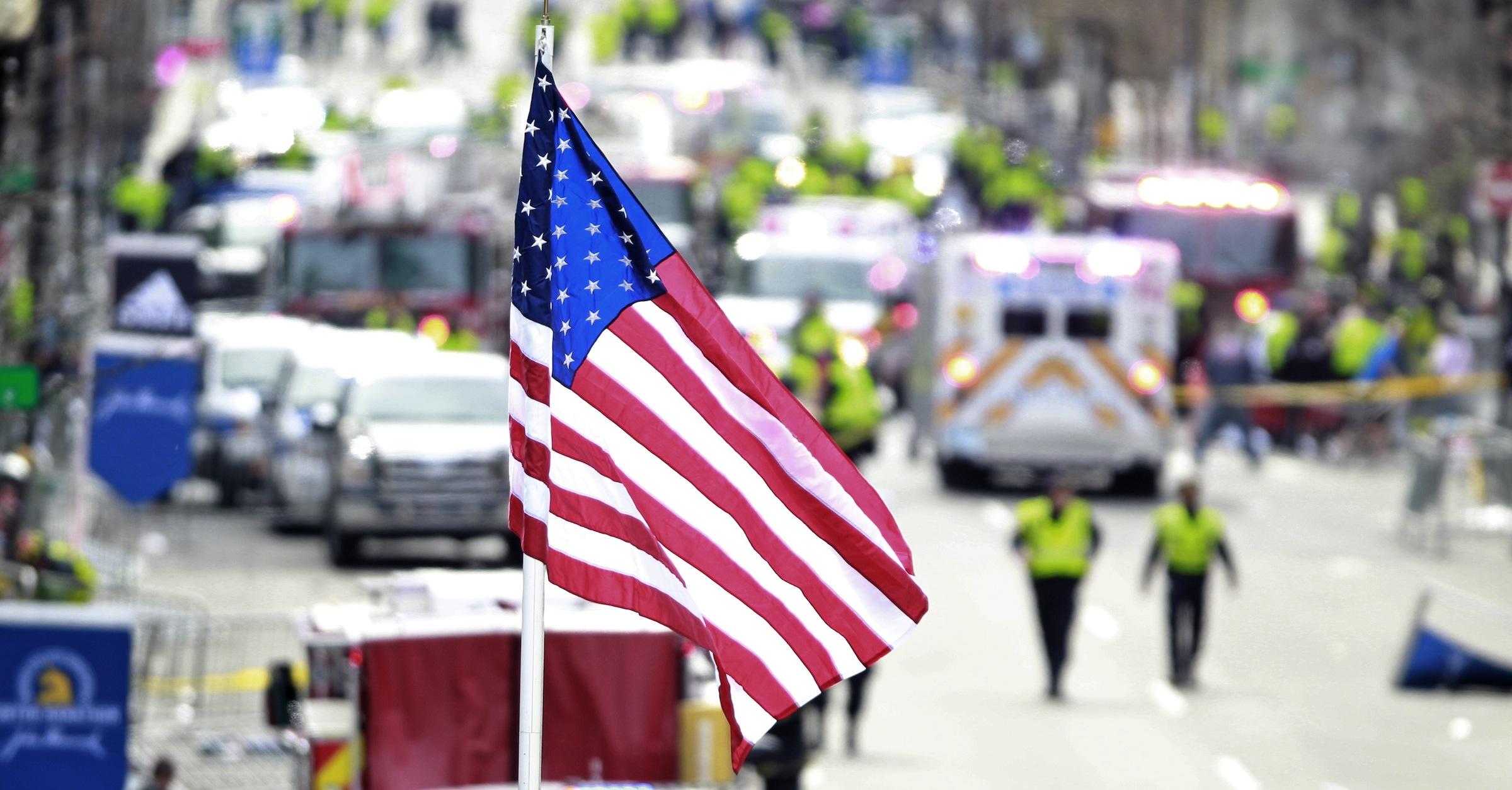 Flag at Boston Marathon