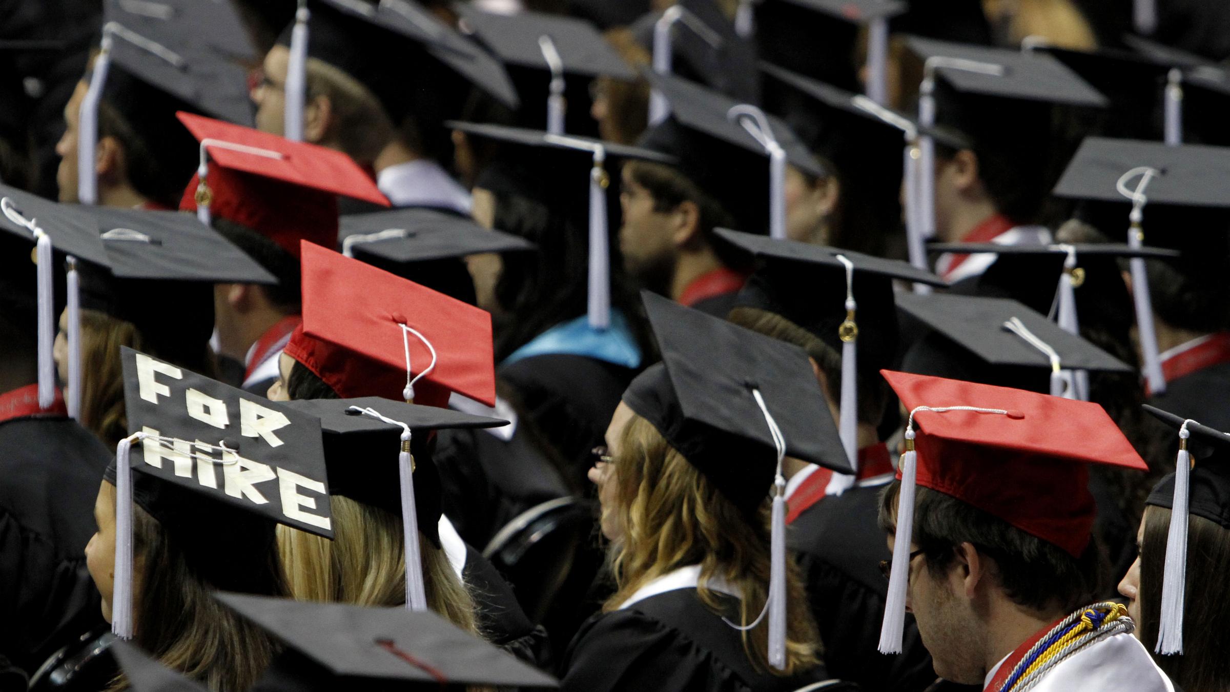 students graduating, debt