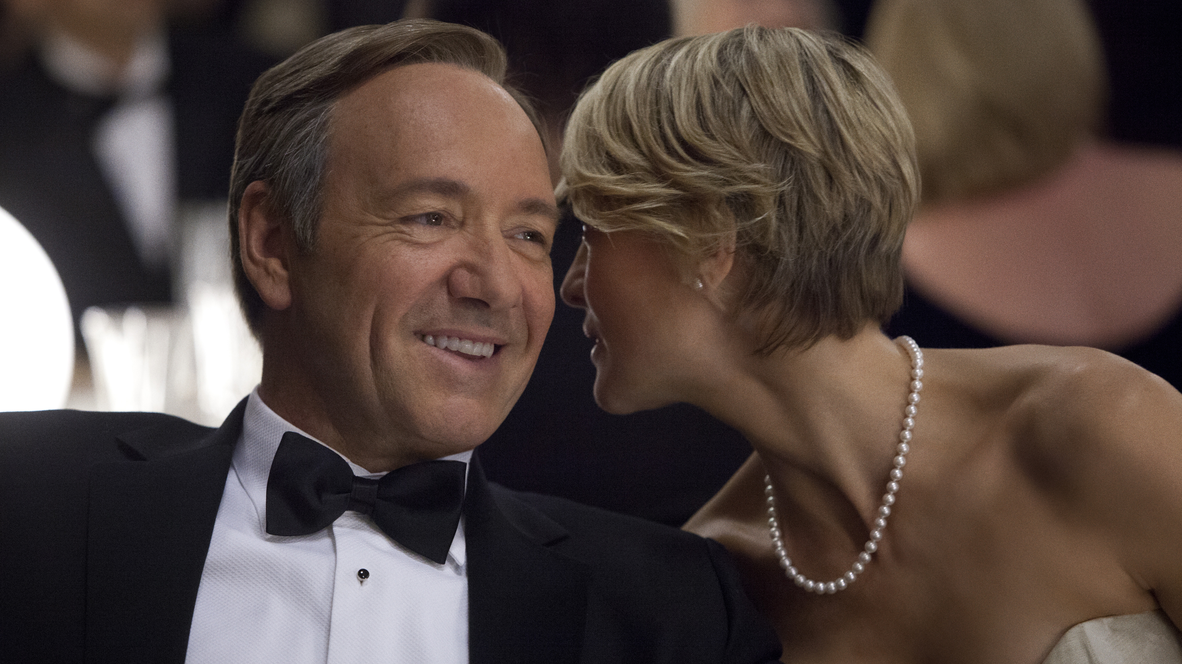 """Kevin Spacey as U.S. Congressman Frank Underwood, left, and Robin Wright as Claire Underwood in a scene from the Netflix original series, """"House of Cards."""""""
