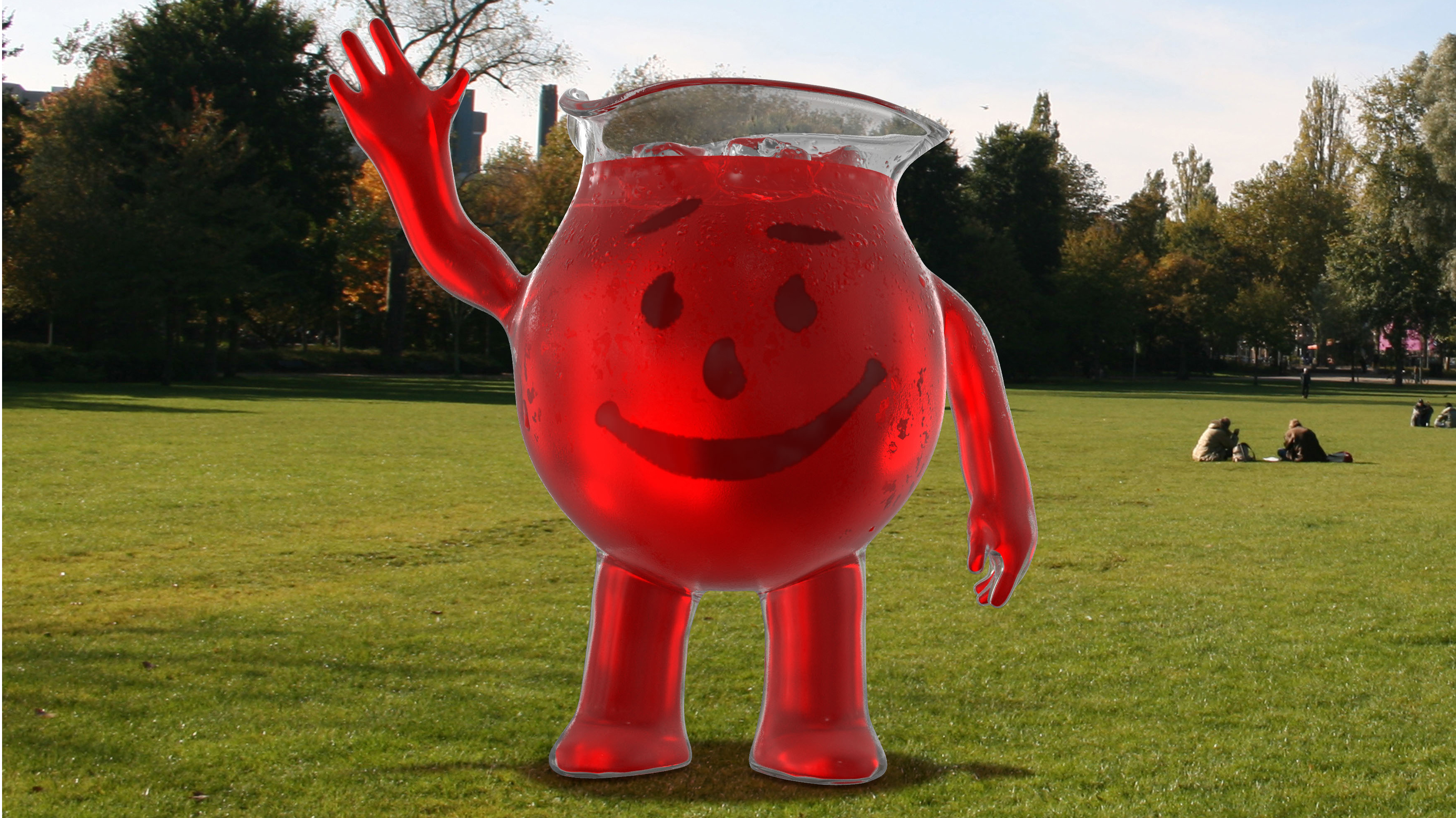 The new Kool-Aid standing in a field looking awkward.