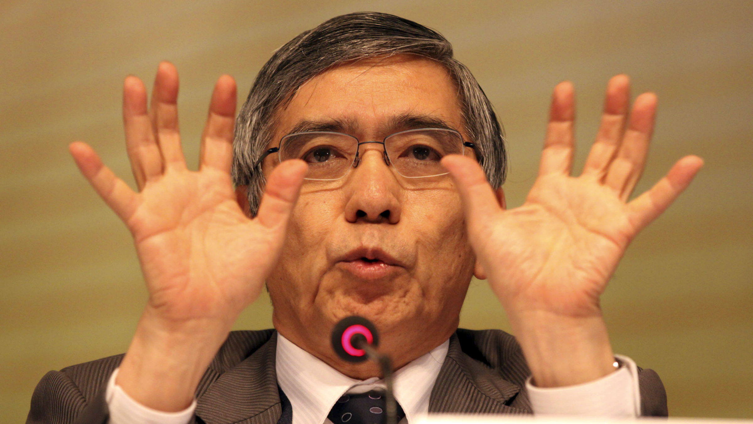 Asian Development Bank President Haruhiko Kuroda gestures as he answers the media queries during a press conference on the last day of the 45th Annual Meeting of the Board of Governors Saturday, May 5, 2012 at the Philippine International Convention Center in suburban Pasay City, Philippines. Kuroda pointed out that poverty, although declining, remains the region's number one challenge. (AP Photo/Pat Roque