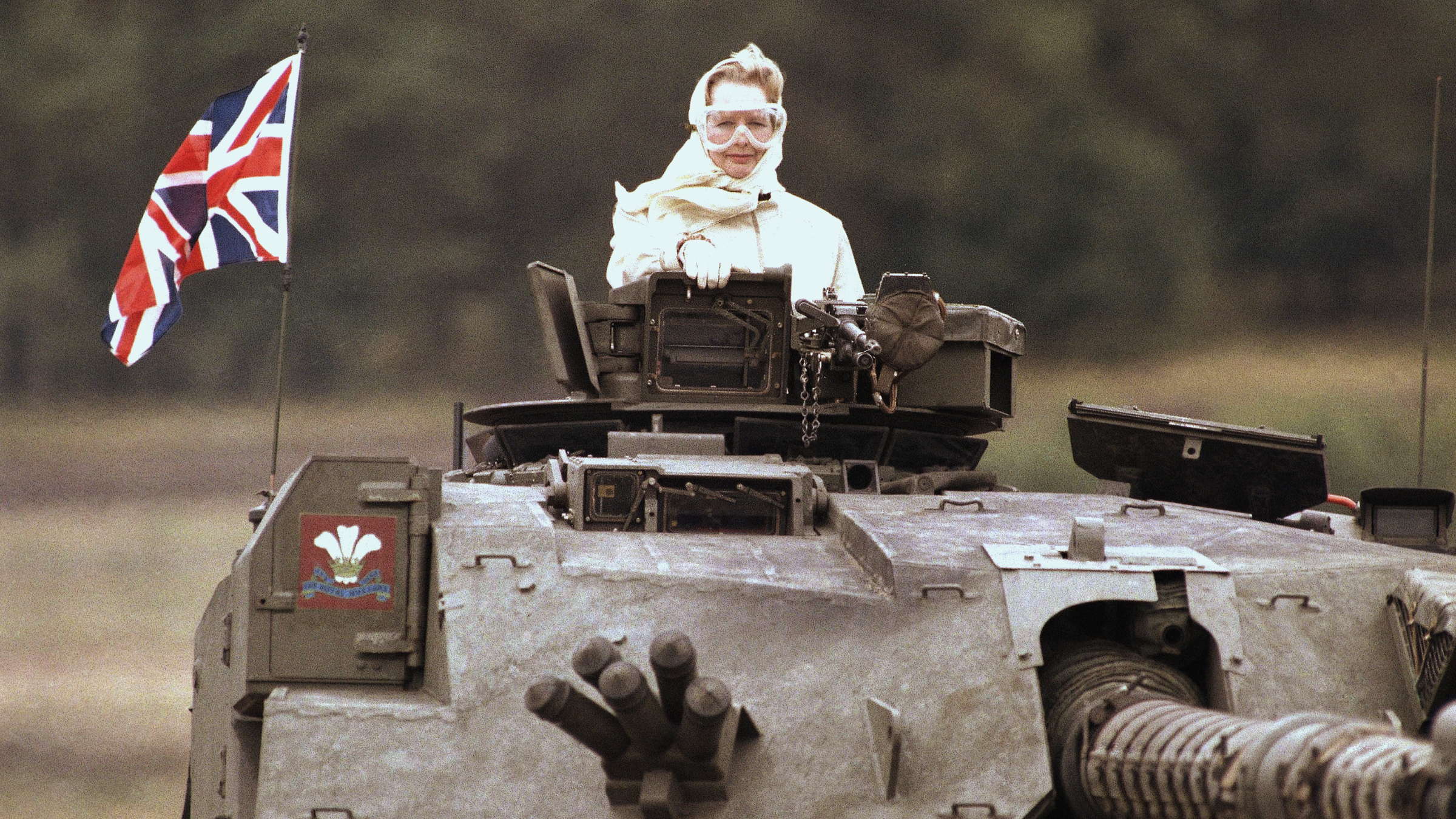 British Prime Minister Margaret Thatcher stands in a British tank during a visit to British forces in Fallingbostel, Germany. on Sept. 17, 1986.