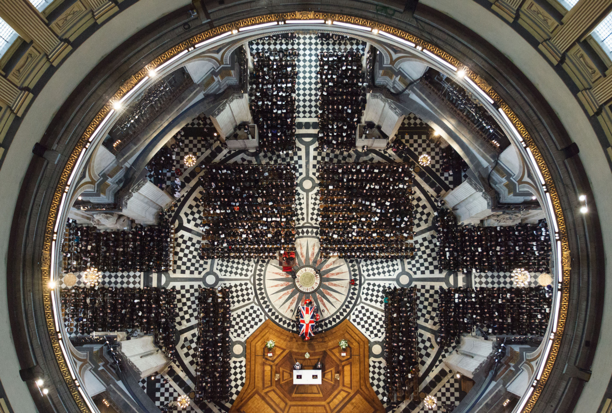 Margaret Thatcher's funeral pictured from above