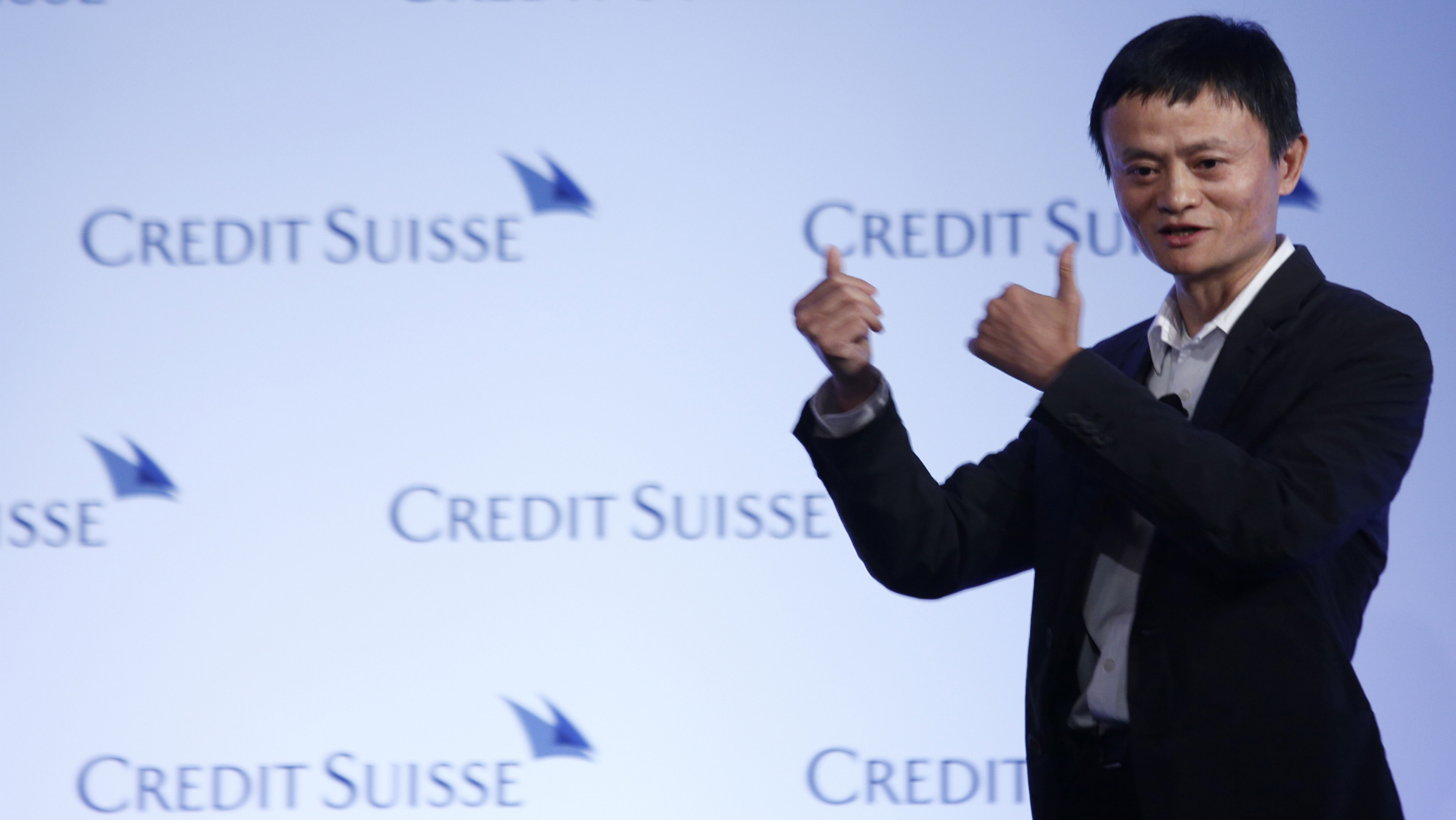 Jack Ma, chairman of China's largest e-commerce firm Alibaba Group, gestures during a conference in Hong Kong Wednesday, March 20, 2012. Ma expects 30 percent of China's total retail sales to be conducted online in five years' time. (AP Photo/Vincent Yu