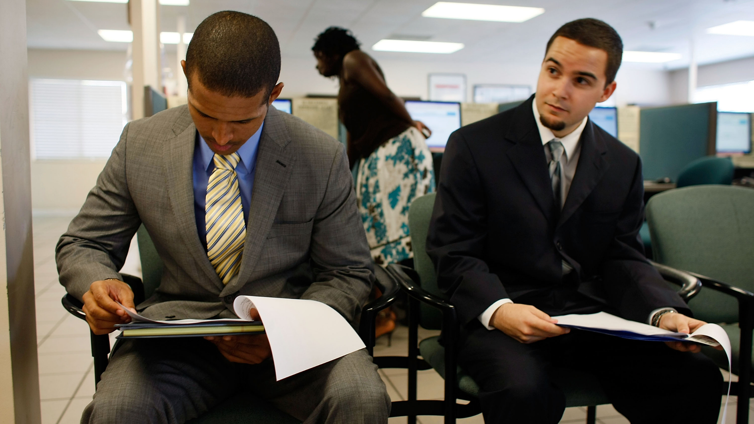 Two applicants prepare for job interview