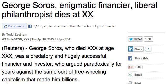 Reuters Soros obit