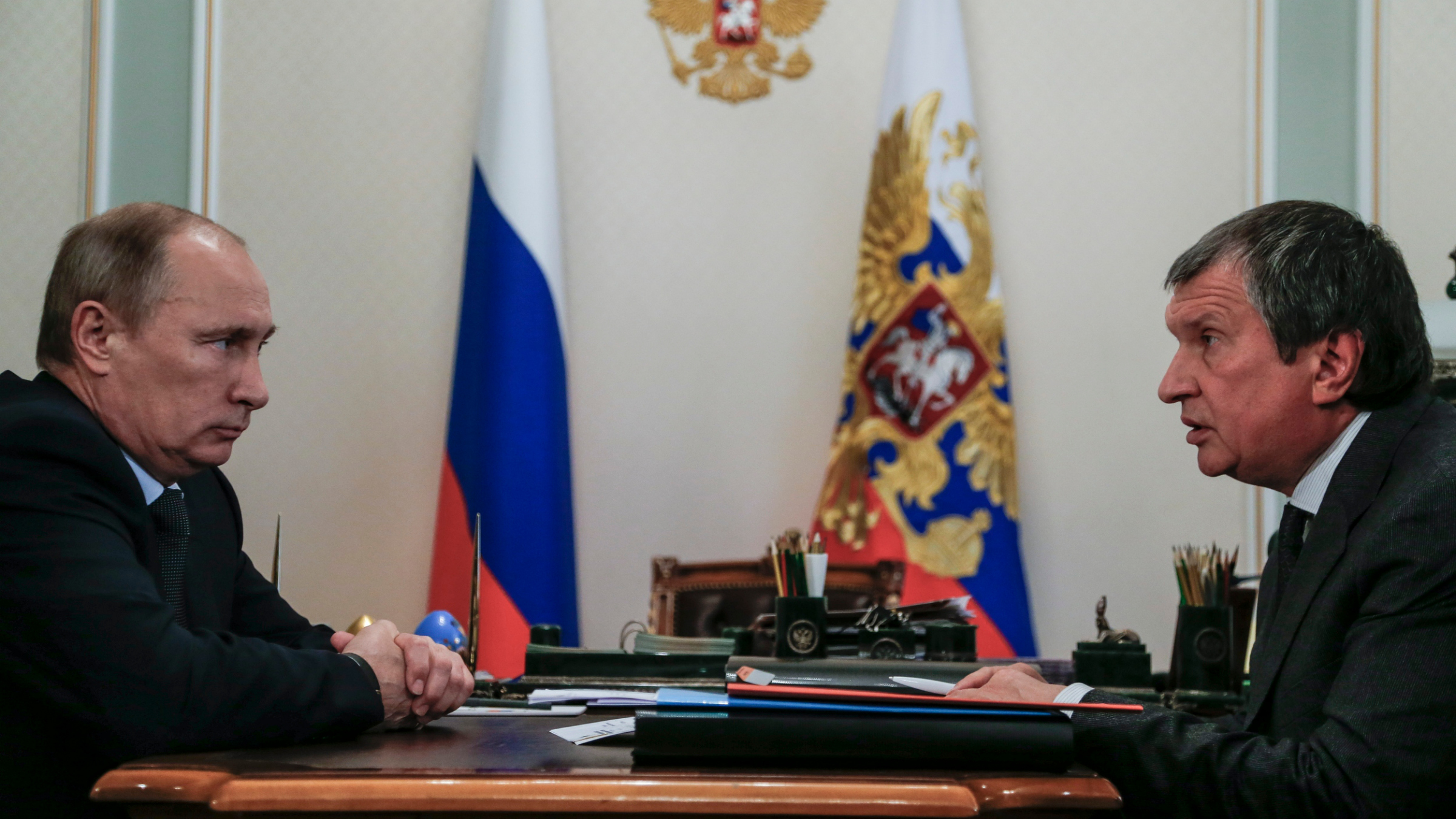 Russian President Vladimir Putin and Rosneft CEO Igor Sechin