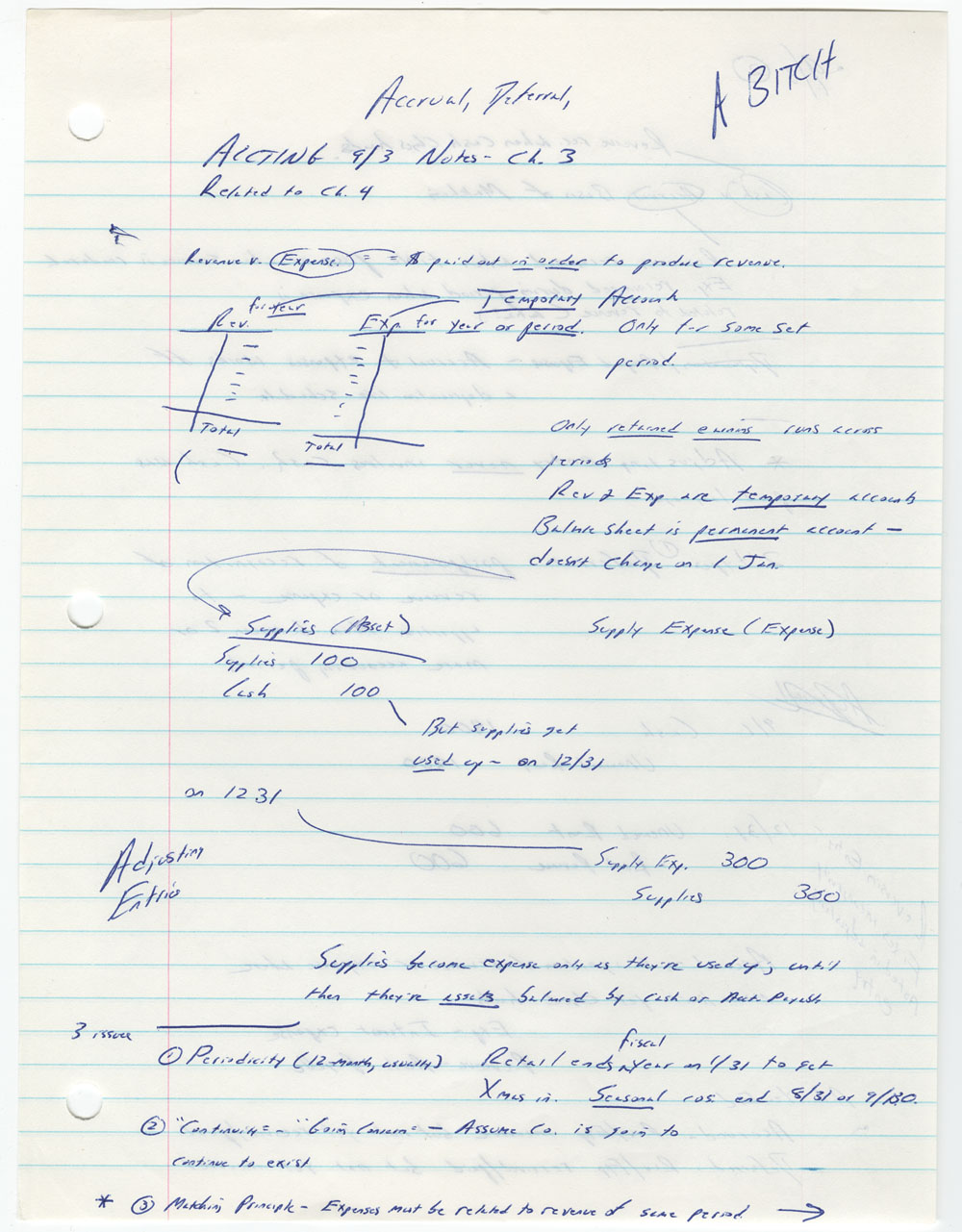 David Foster Wallace's notes from a tax accounting class