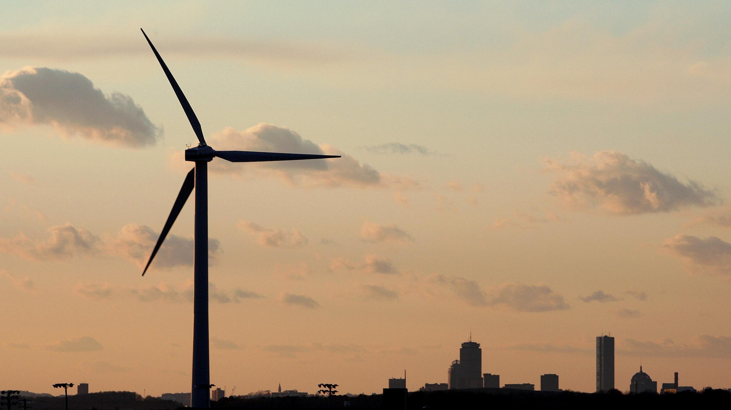 Wind turbine at sunset