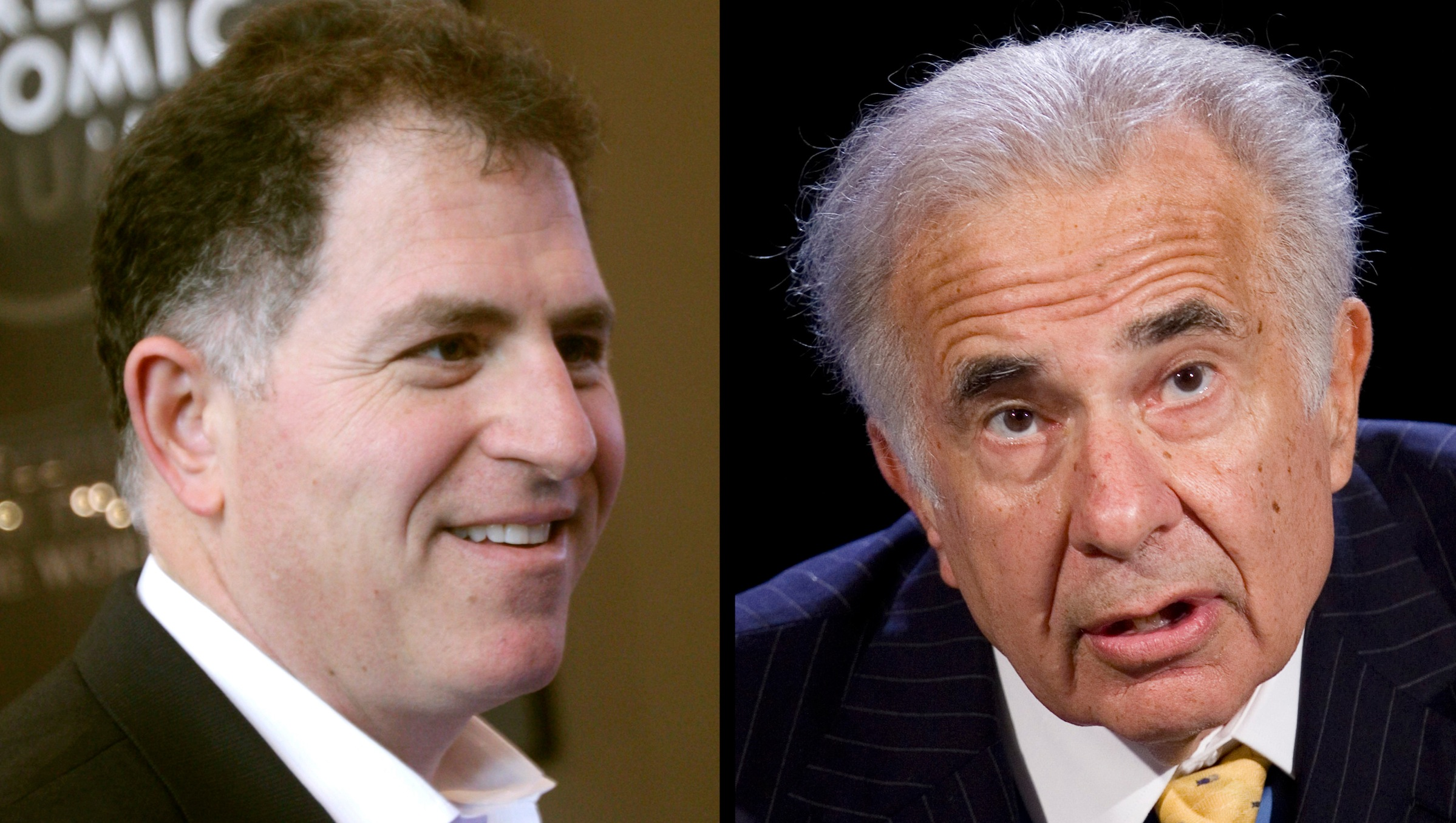 FILE - Dell founder Michael Dell, left, in a Jan. 26, 2011 file photo, and Carl Icahn, in an Oct. 7, 2007 file photo, are seen in a combination photo. Dell's largest independent shareholder has teamed with activist investor Icahn in another challenge to Michael Dell's $24.4 billion bid to take the struggling computer maker private. Southeastern Asset Management and Icahn said in a letter sent Thursday, May 9, 2013 to the Dell Inc. board that they want to let shareholders keep their stock and give them either $12 per share in cash or additional shares in a deal that keeps the company publicly traded. An investment group led by Michael Dell offered earlier this year to pay $13.65 per share in a deal that would take the company private. Southeastern and Icahn criticized that proposal in a scathing letter to Dell's board outlining their latest offer. (AP Photos/Dell-Virginia Mayo, Icahn-Mark Lennihan)