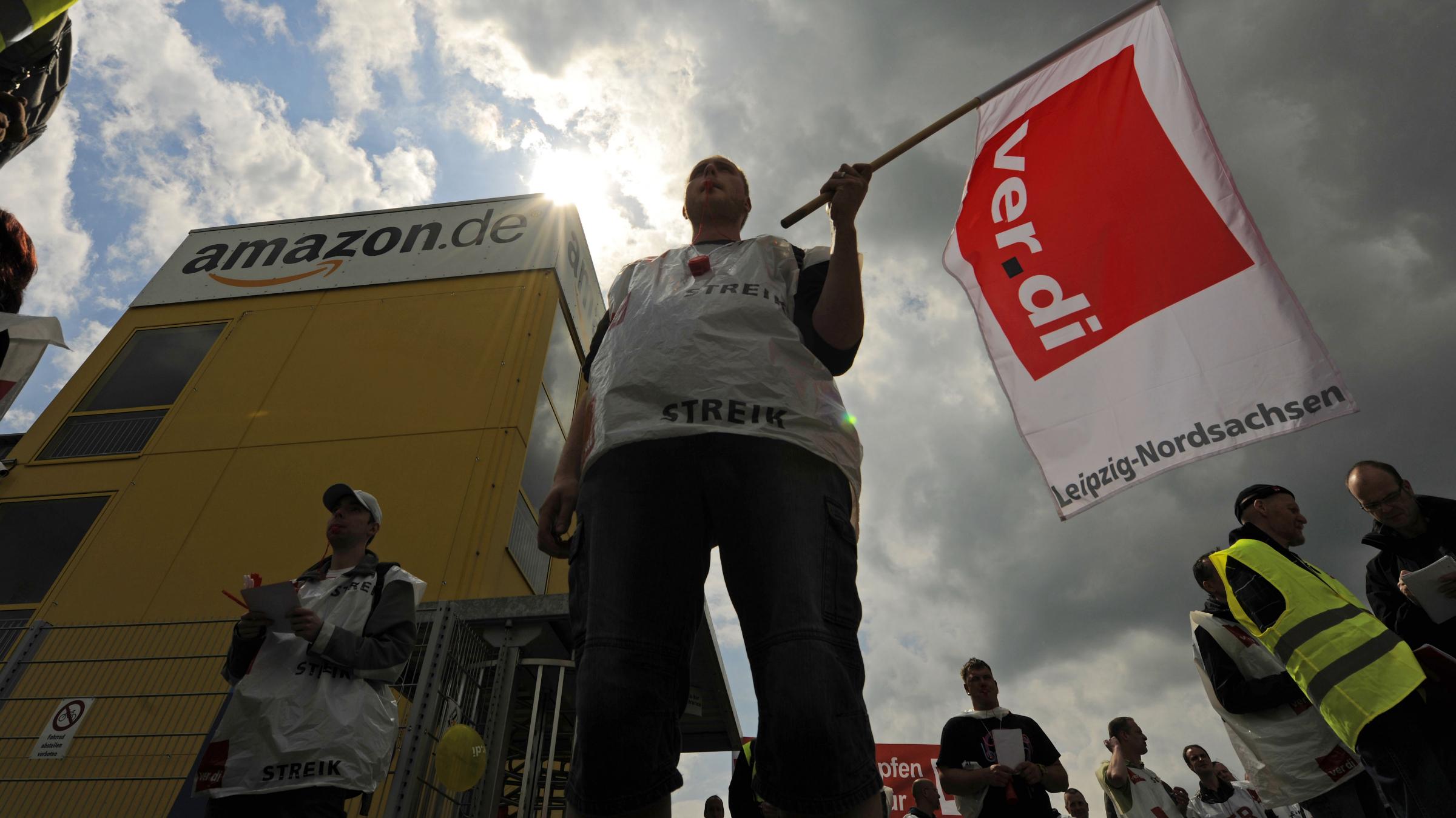 Amazon protest Germany wage inequality euro crisis