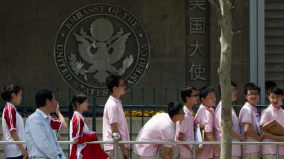 Chinese students in line for visas