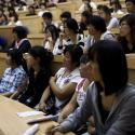 College students listen in class