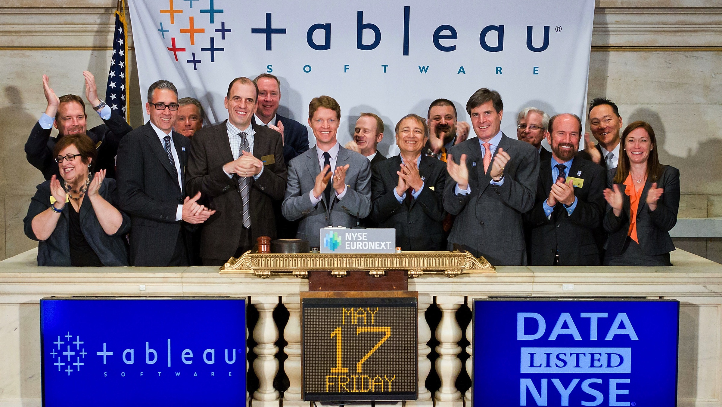 NEW YORK, NY – MAY 17:   CEO and Co-founder Christian Chabot of Tableau Software celebrates their IPO and rings the opening bell at the New York Stock Exchange on May 17, 2013 in New York City.  (Photo by Ben Hider/NYSE Euronext)