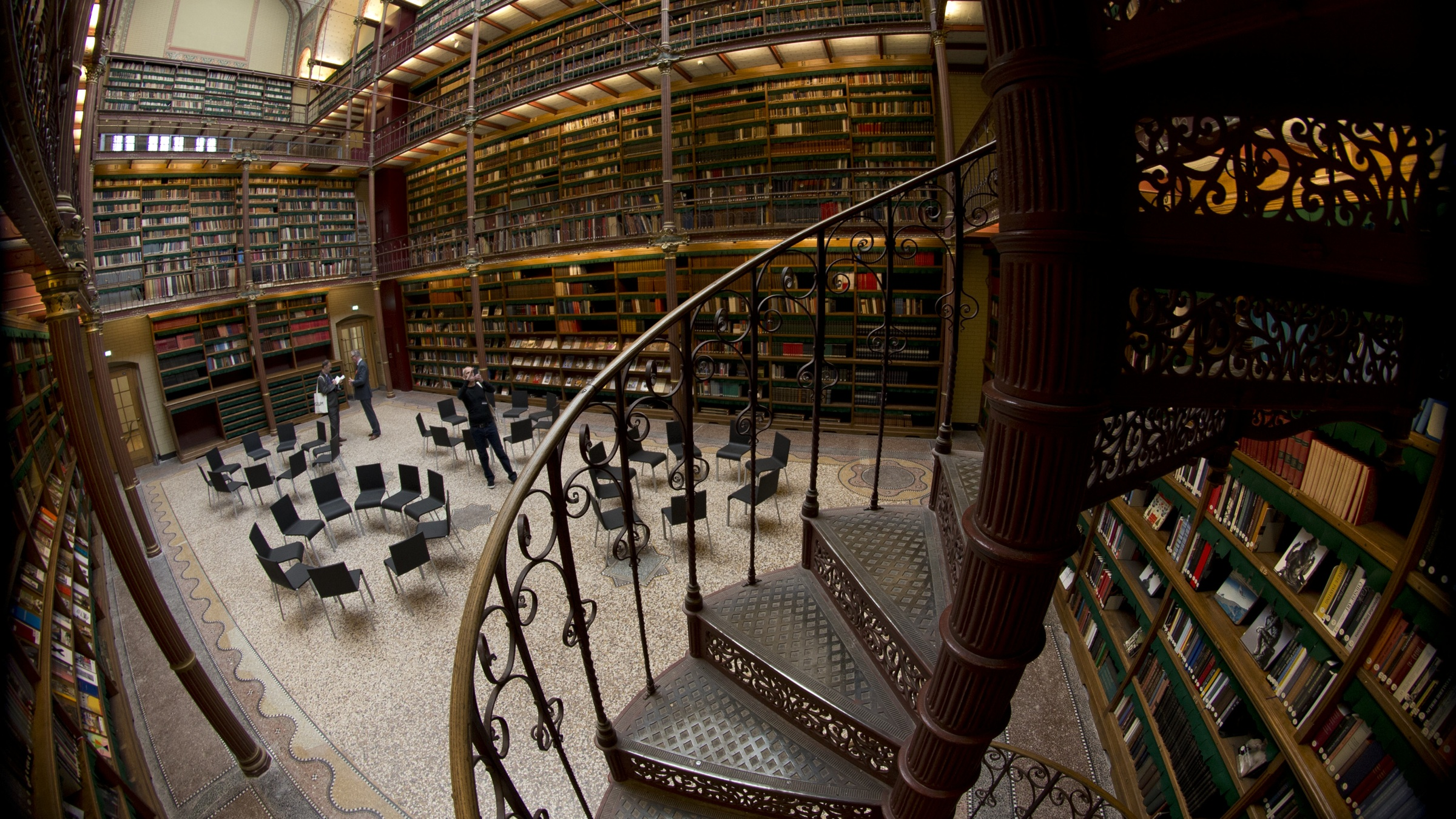 Fish-eye view of the library which houses about one fifth of the total collection of books during a press preview of the renovated Rijkmuseum in Amsterdam, Thursday April 4, 2013. The Rijksmusuem, home of Rembrandt's Night Watch and other national treasures, is preparing to reopen its doors on April 13 2013 after a decade-long renovation. (AP Photo/Peter Dejong)