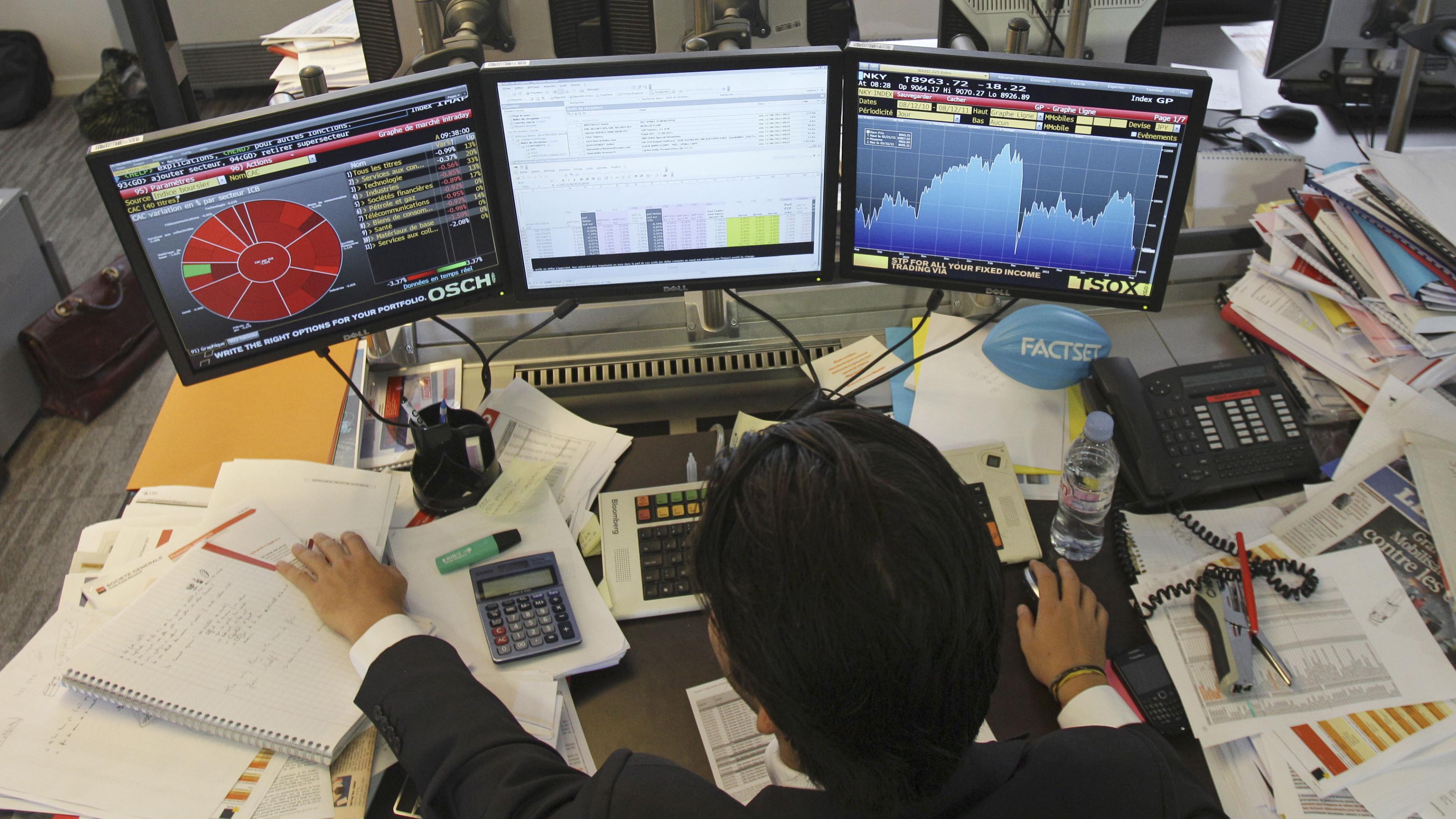 Trader at his desk