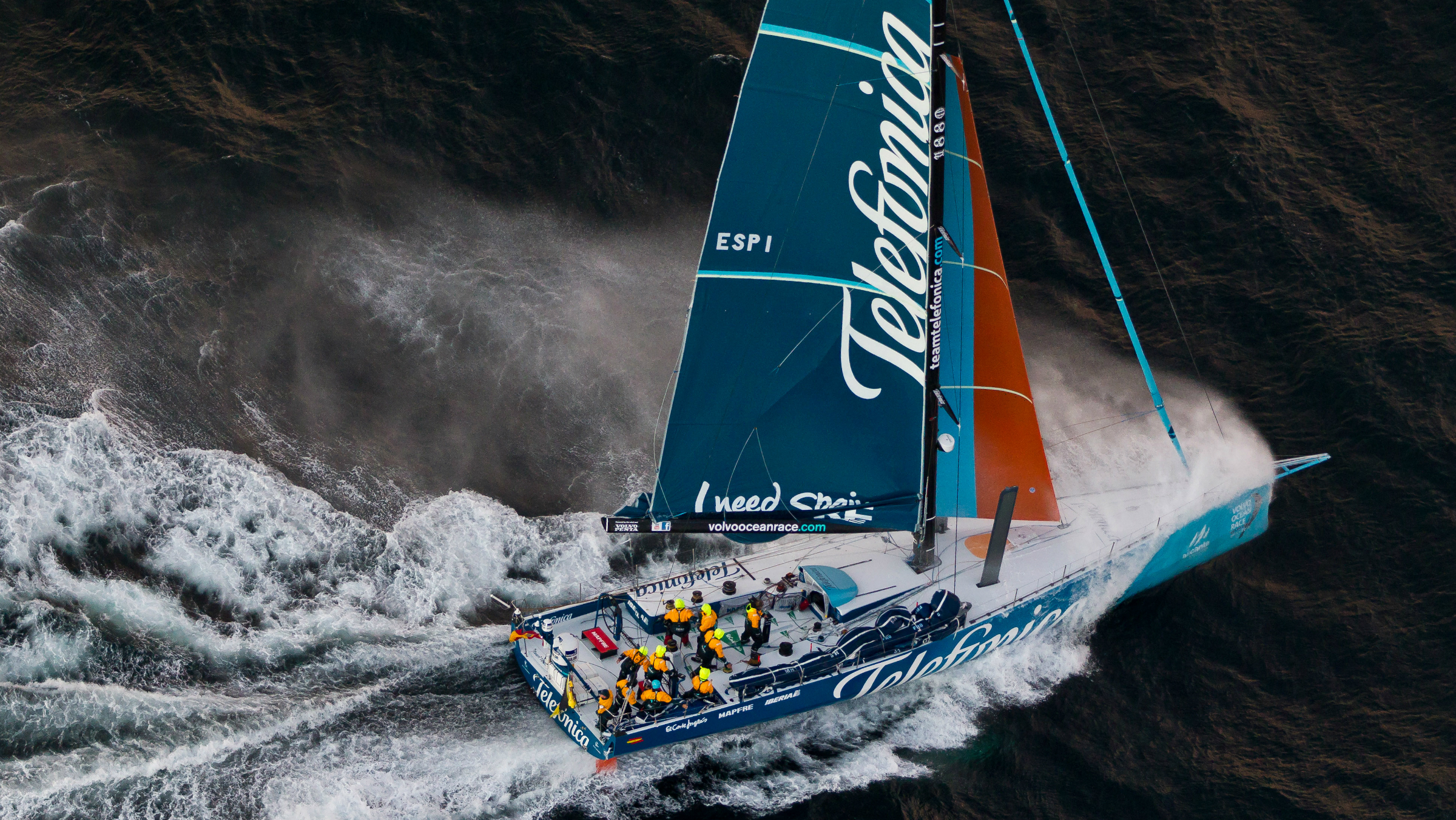 In this photograph supplied by Volvo Ocean Race, Spanish team Team Telefonica, skippered by Iker Martinez, finish the first of leg 1 of the Volvo Ocean Race 2011-12 from Alicante, Spain to Cape Town, South Africa Saturday, Nov 26, 2011 to take the lead in the competition. (AP Photo/Ian Roman/Volvo Ocean Race photo via AP Images) EDITORIAL USE ONLY