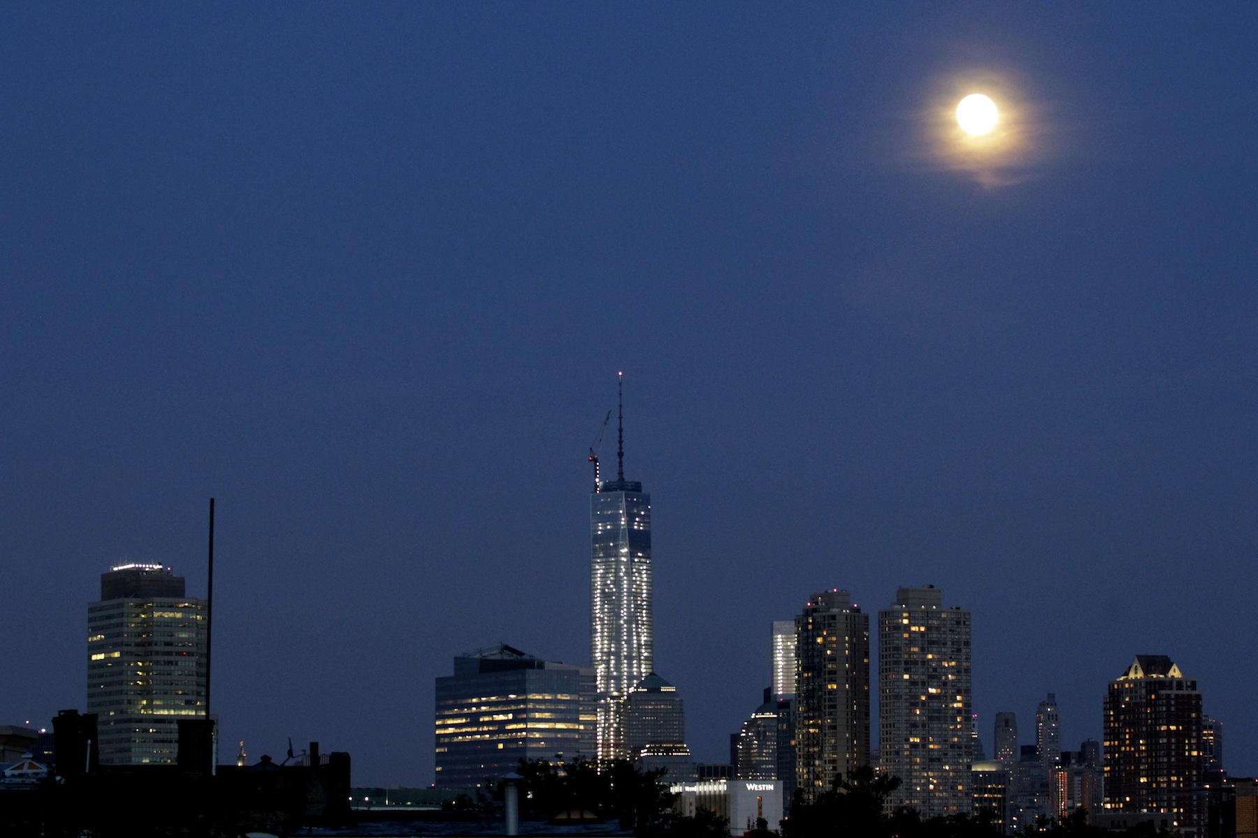 The nearly completed One World Trade Center in New York City.