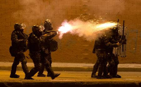 Brazilian police shooting tear gas