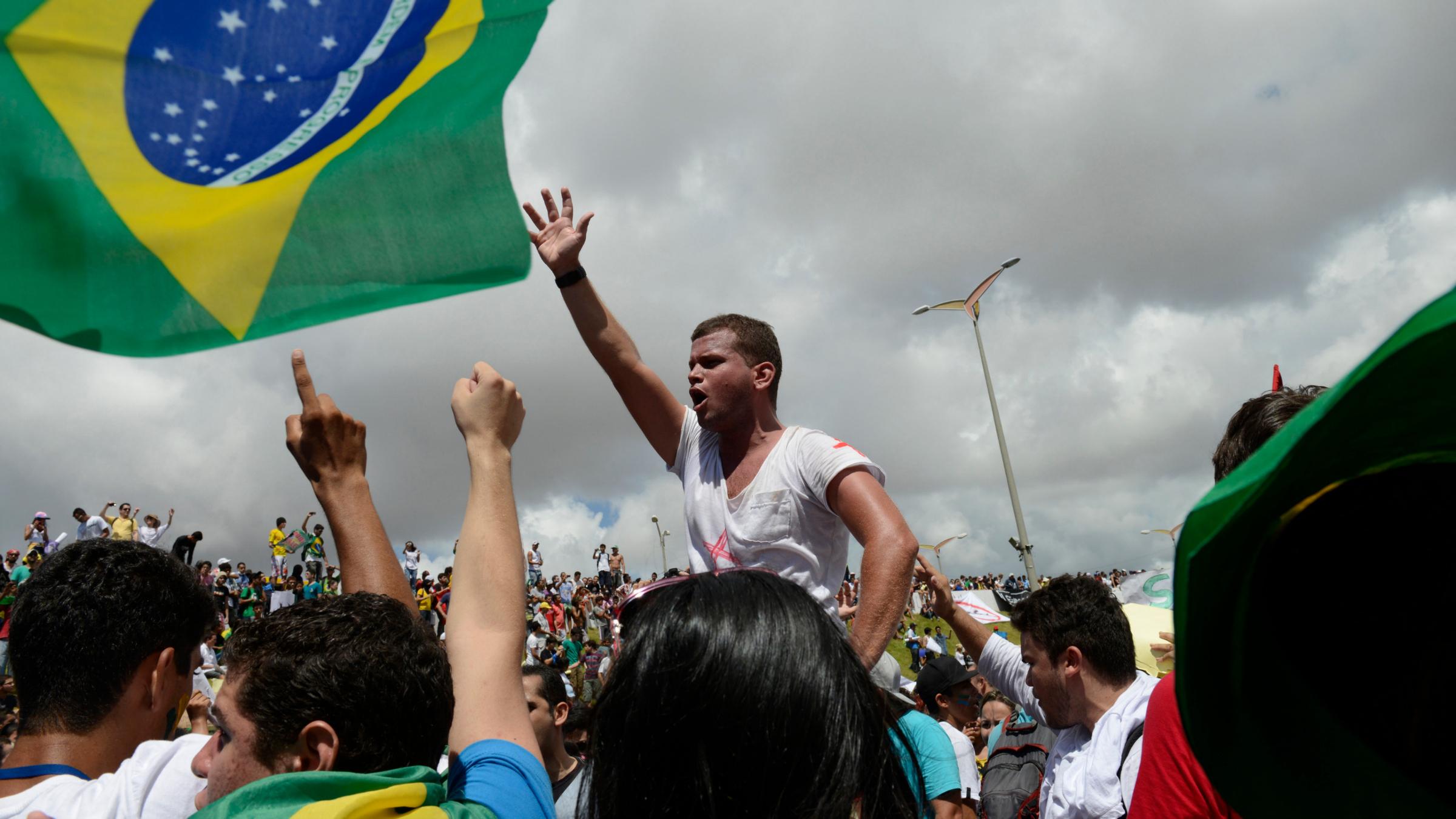 Protestors near Estadio Castelao in Brazil.