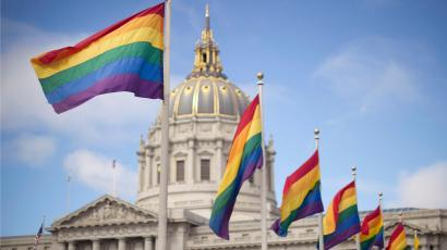 Capital rainbow flags