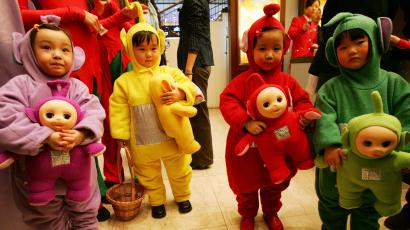 Chinese children dressed as teletubies