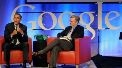 Google Chairman Eric Schmidt and US President Barack Obama.